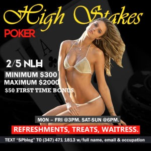 Sat-Sun, 2/5 NLH, 5/10 NLH, and/or PLO! $50 First Time Bonus!