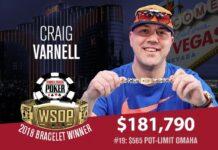 Craig Varnell Tops 2,419-Strong Field in 2018 WSOP $565 Pot-Limit Omaha