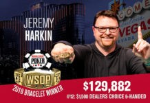 Jeremy Harkin Wins 2018 World Series of Poker $1,500 Dealer's Choice Event